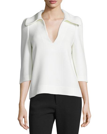 3/4-Sleeve Oversized-Collar Top