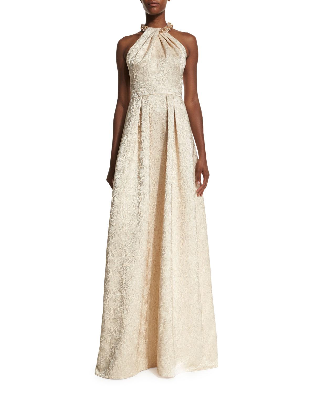 Carmen Marc Valvo Beaded-Neck Jacquard Ball Gown, Gold   Neiman Marcus