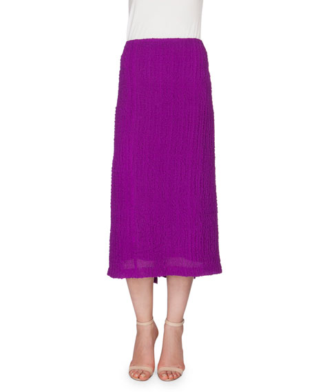 Victoria Beckham Textured Seersucker Pencil Skirt, Plum
