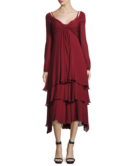 cinq a sept Fira Tiered Silk Dress, Pomegranate