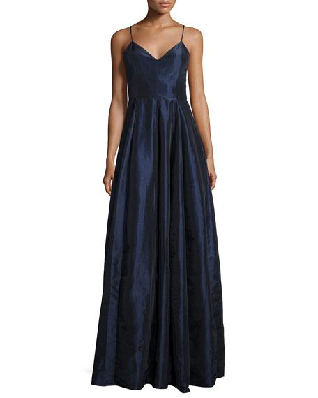 Sleeveless Taffeta Gown, Navy