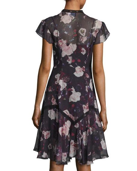 Victorian Cap-Sleeve Ruffle Dress