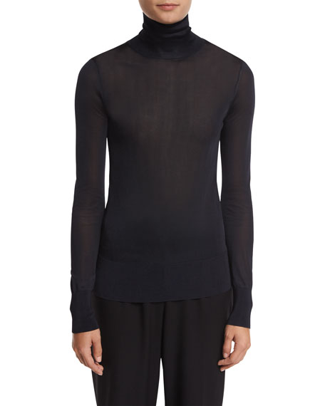DKNY Long-Sleeve Jersey Turtleneck Top, Navy