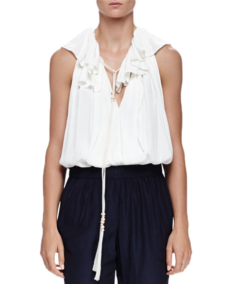 Lanvin V-Neck Ruffled Cotton Tassel Top