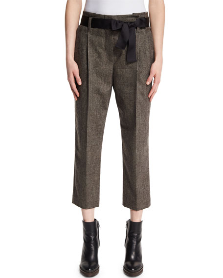 Brunello Cucinelli Plaid Belted Cropped Trousers, Bark