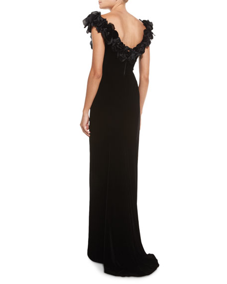 Floral-Appliqué High-Slit Velvet Gown, Black