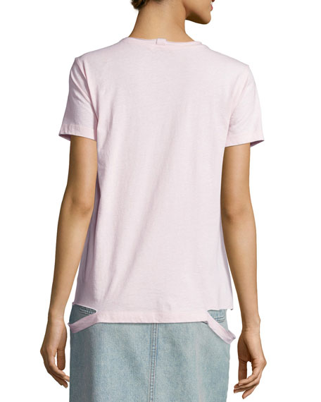 Slashed-Hem Cotton Jersey Tee, Pale Mauve