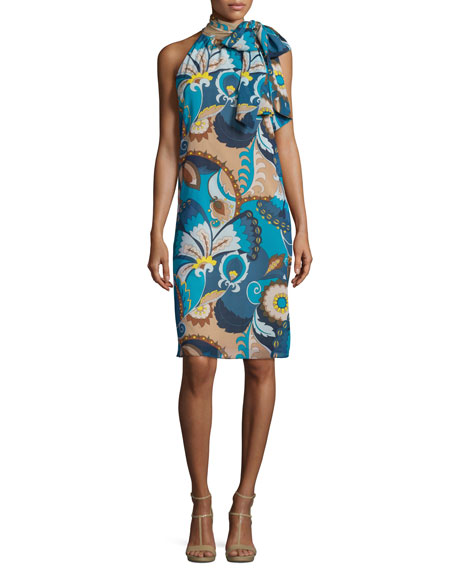 Sleeveless Floral Tie-Neck Shift Dress, Peacock