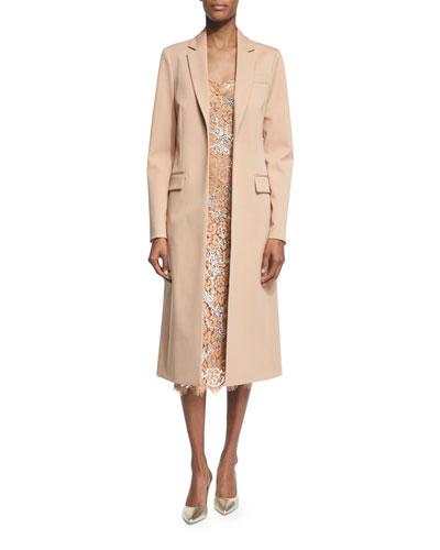 Long Open-Front Wool Coat, Suntan