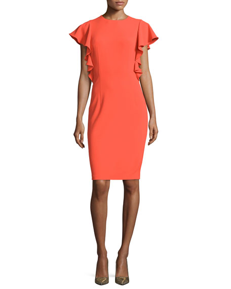 Sachin & Babi Ruffled Short-Sleeve Cocktail Dress, Coral