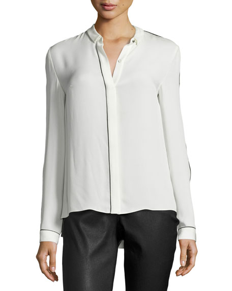Elie Tahari Yvette Long-Sleeve Contrast-Piped Silk Blouse