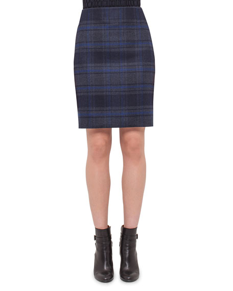 Akris Plaid Wool Pencil Skirt, Blue Jay/Starling