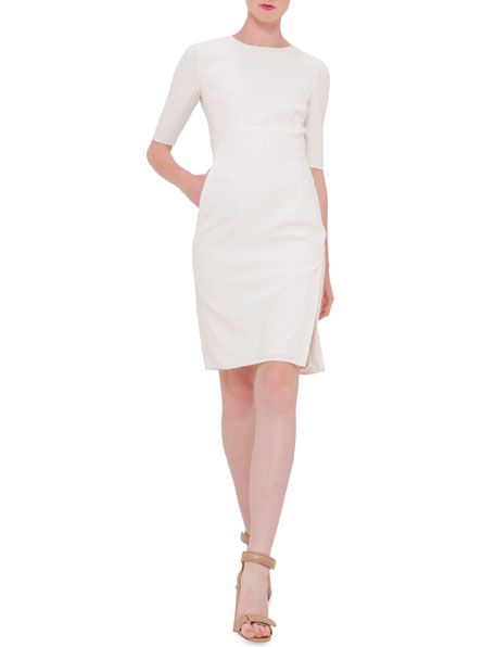 Akris Half-Sleeve Jewel-Neck Sheath Dress, Anemone