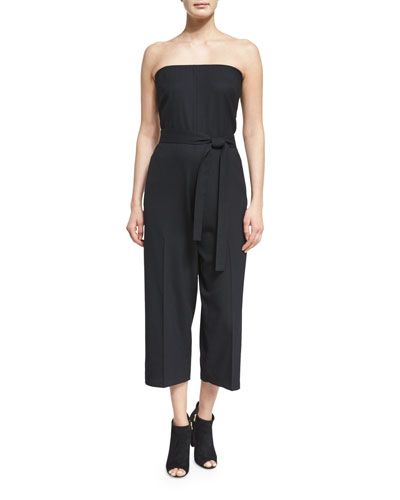 Belted Strapless Jumpsuit, Black