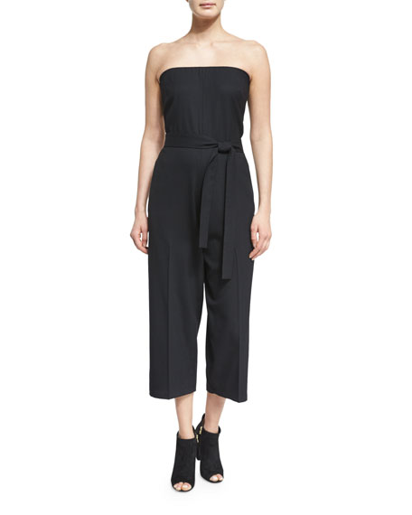 McQ Alexander McQueen Belted Strapless Jumpsuit, Black