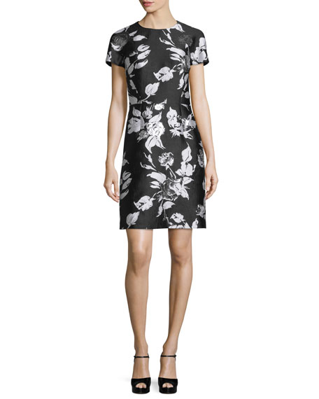 Michael Kors Short-Sleeve Metallic Floral Jacquard Dress, Black