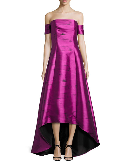 Strapless Jacquard Ball Gown, Pink Topaz