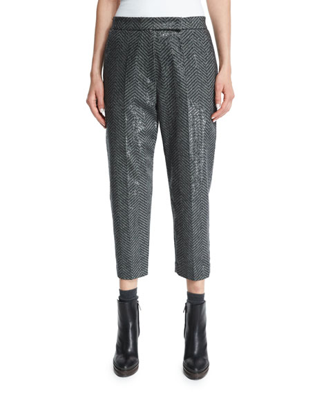 Brunello Cucinelli Paillette Chevron Cropped Pants, Onyx