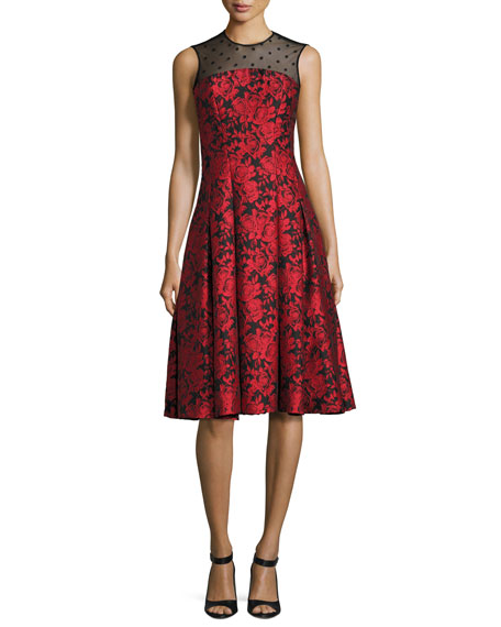 Carmen Marc Valvo Sleeveless Floral Jacquard Fit-and-Flare Dress,
