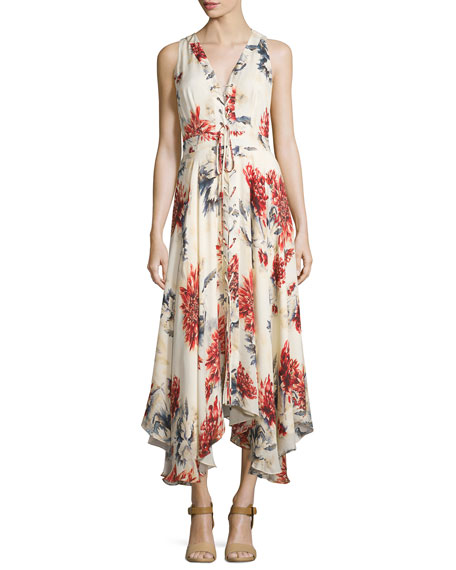 Haute Hippie Sleeveless Lace-Up Floral Silk Midi Dress,