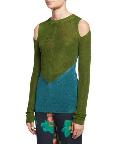 Etro Bicolor Cold-Shoulder Sweater