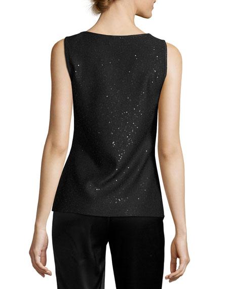 Sequined Knit Scoop-Neck Tank, Black