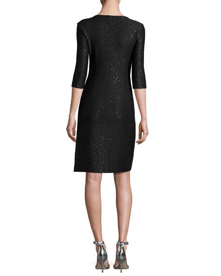 Sequined Knit V-Neck 3/4-Sleeve Dress, Black