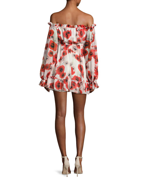 Poppy Floral Off-the-Shoulder Silk Mini Dress, Red/White