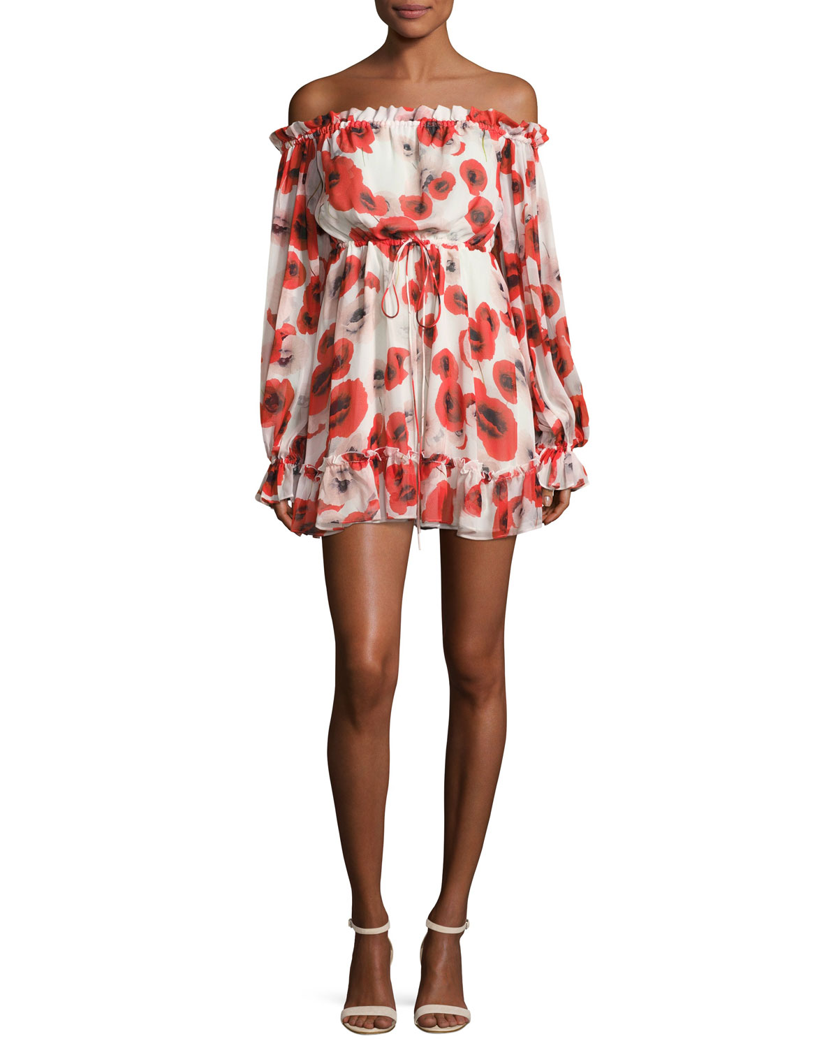 ad1248ed07a9 NICHOLAS Poppy Floral Off-the-Shoulder Silk Mini Dress