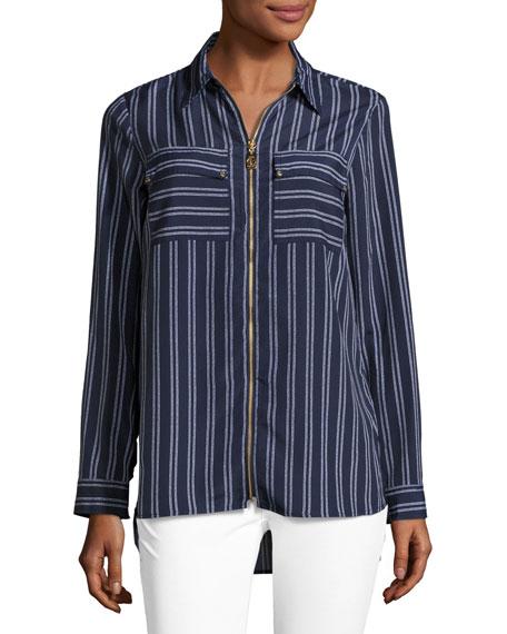 Bengal-Striped Zip-Front Top, Navy