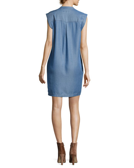 Short-Sleeve Lace-Up Chambray Shift Dress, Blue