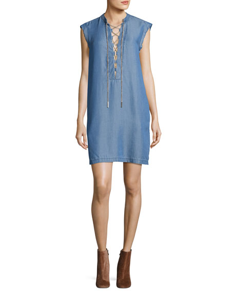 MICHAEL Michael Kors Short-Sleeve Lace-Up Chambray Shift Dress,
