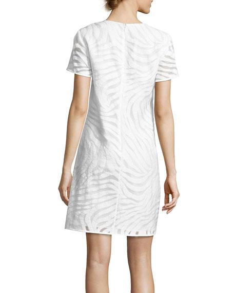 Short-Sleeve Zebra Jacquard Shift Dress, White
