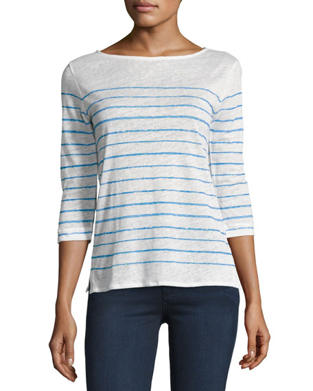 3/4-Sleeve Striped Linen Boat-Neck Tee