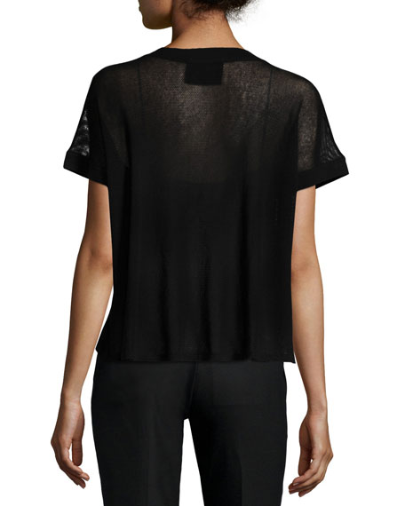 Lace-Up Viscose Mesh Tee
