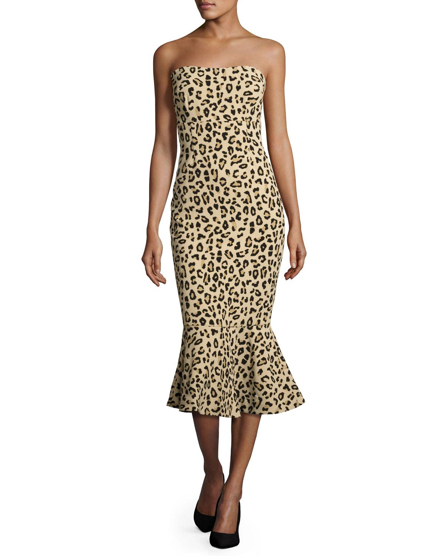 cinq a sept Luna Leopard-Print Strapless Mermaid Dress 2ea5445c0
