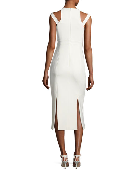 Henriette Strappy Sleeveless Midi Dress, Ivory