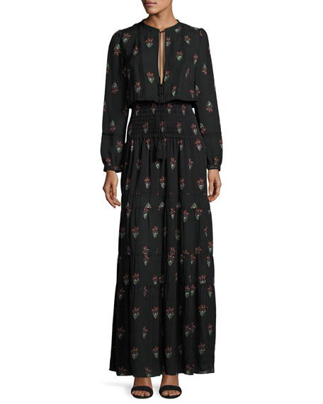 A.L.C. Cosimo Tiered Printed Silk Maxi Dress, Black