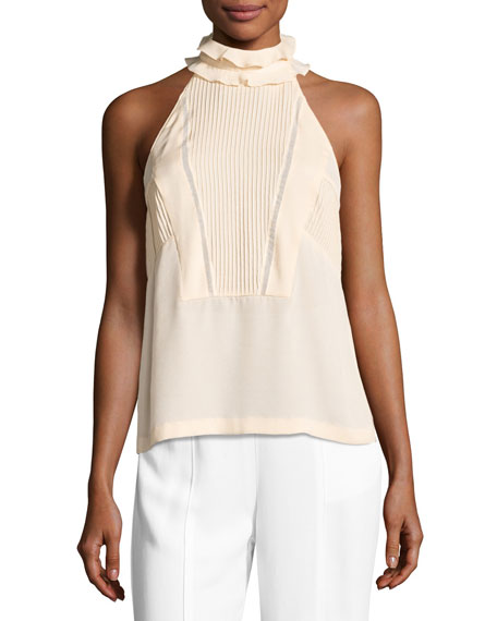 A.L.C. Grace Sleeveless Pintucked Silk Top, Blush