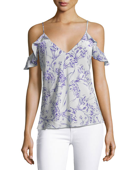 Amanda Uprichard Aliyah Floral Print Cold-Shoulder Camisole Top,