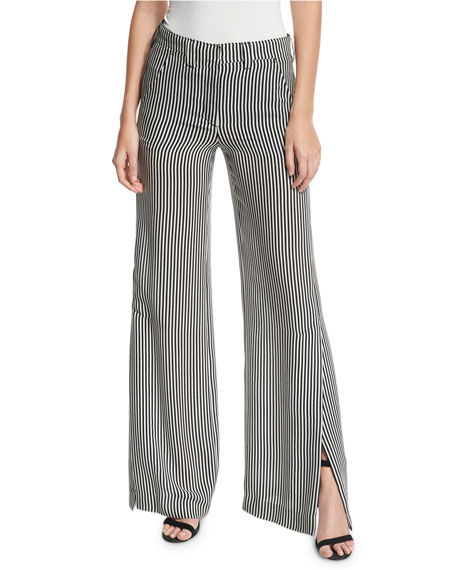 A.L.C. Miles Striped Silk Wide-Leg Pants, Black/White