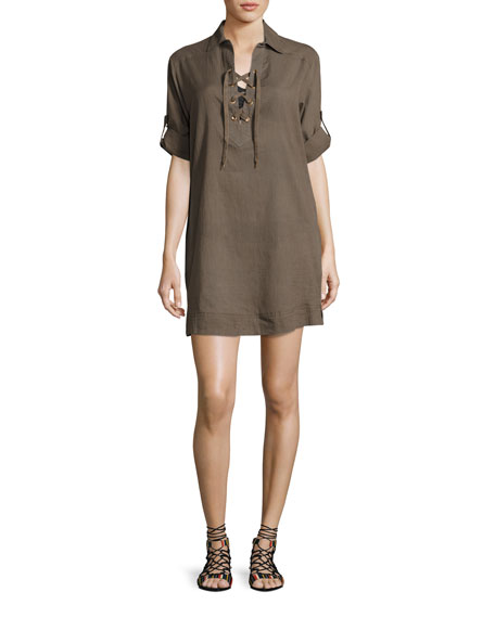 JETS by Jessika Allen Parallels Lace-Up Cotton Shirtdress,