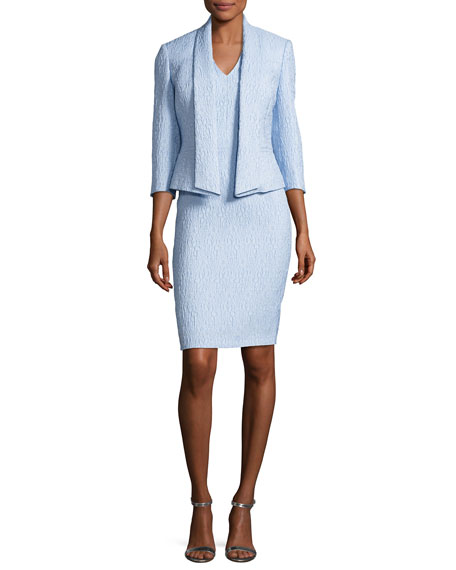 Albert Nipon Jacquard Sheath Dress w/ 3/4-Sleeve Jacket,