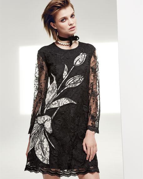 Avant Long-Sleeve Floral Lace Cocktail Dress, Jet