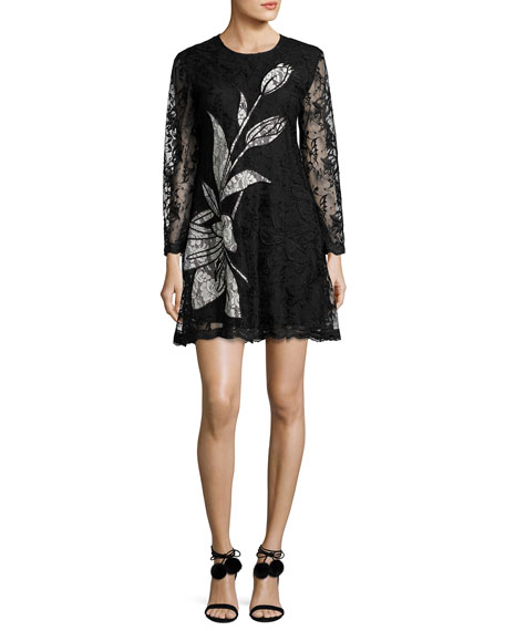 Sachin & Babi Avant Long-Sleeve Floral Lace Cocktail