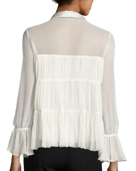 Ailee Chiffon Ruffle Top, Ivory/Black