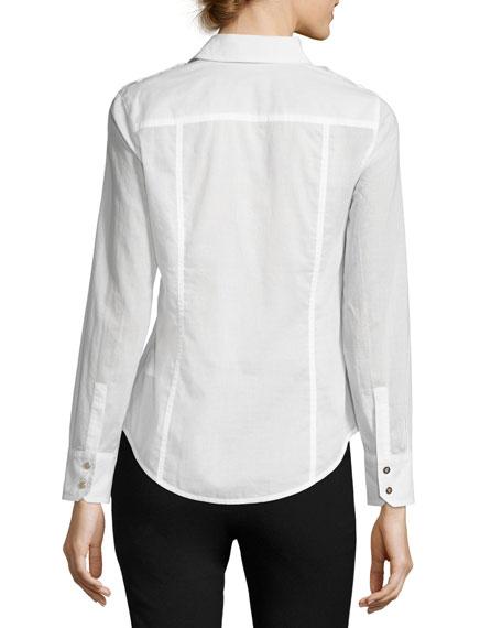 Brigitte Long-Sleeve Button-Front Poplin Blouse, White