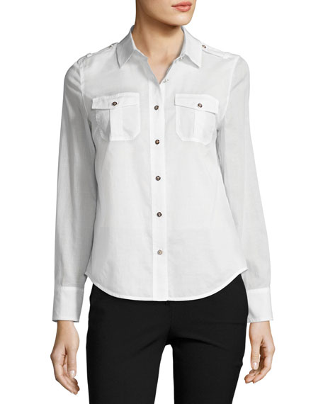 Brigitte Long-Sleeve Button-Front Poplin Blouse, White