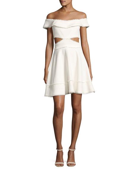 Vanessa Off-the-Shoulder Fringe-Trim Party Dress, Ivory