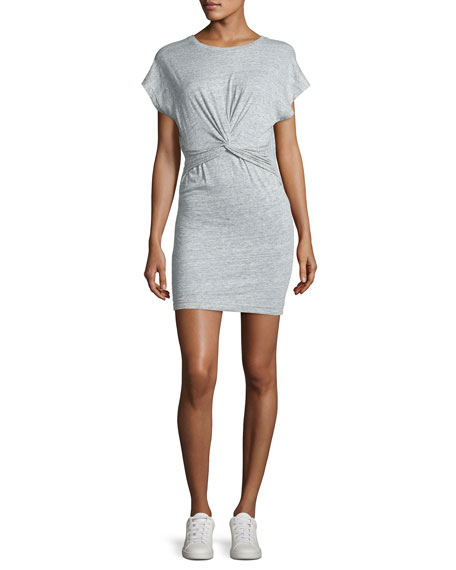 Iro Pier Stretch Jersey Twist-Front Mini Dress, Light